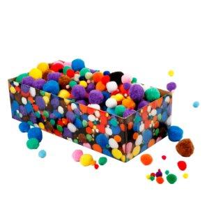 Pompons 720 Stück in versch. Farben sortiert, Druckfehler im Katalog: 720 Stück, statt 800