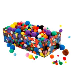 Pompons 150 Stück in versch. Farben sortiert.