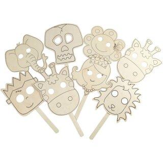 Masken aus Sperrholz 16 Stück sortiert  B: 22 cm, L: 35 cm