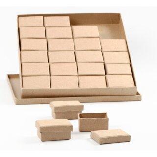 Pappmaché Pappschachteln 24er Set 5 x 7 cm, 3,5 cm hoch