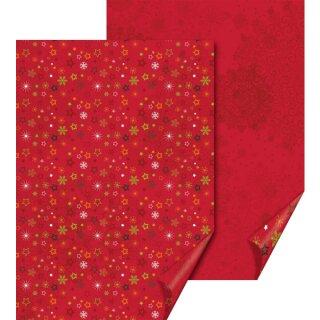 Motivkarton Sterne rot, 1 Bogen 50 x 70 cm, 300 g/qm, beidseitig bedruckt