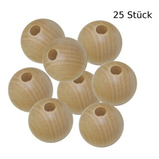 Holzkugel mit Lochbohrung D: 30 mm, Loch D: 6 mm, 25 St.