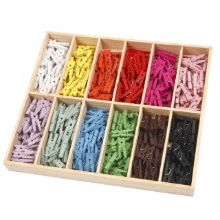 Mini Wäscheklammern, 288 Stück, 12 Farben sort.