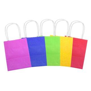 Papiertüten gelb/rot/pink/grün blau, 21 x 18 x 8 cm, 20 Stück