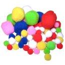 Pompons Mix D: 1 - 4,5 cm 100 Stück farbig sortiert
