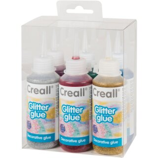 Creall® Glitterglue 6er Set je 100 ml in blau, grün, pink rot, gold, silber