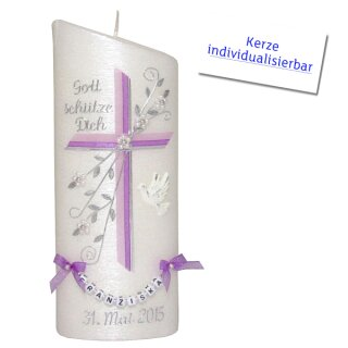 Taufkerze Ellipse abgeschrägt, Kreuz + Blume rosa