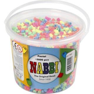 Nabbi® Bügelperlen Pastell im Eimer mit ca. 5000 Stück 5 mm