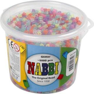 Nabbi® Bügelperlen Glitter im Eimer mit ca. 5000 Stück 5 mm