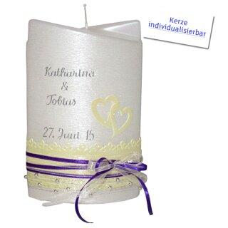 Hochzeitskerze Ellipse, 2 flügelig, beige