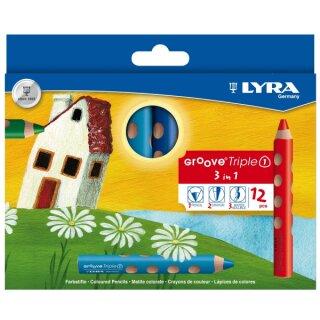 Lyra Groove Triple 1 Farbstift, 12 Stifte in 12 Farben sort.