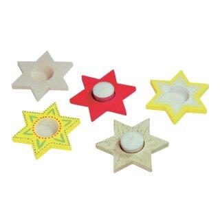 Teelichthalter Stern, aus Holz natur, D: ca. 13,5 cm von Beleduc