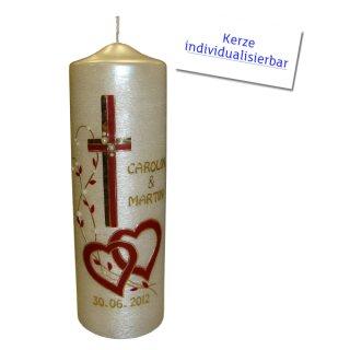 Hochzeitskerze Blütenranke + Herz