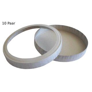 Laternendeckel/Laternenboden, D: 15,3 cm, weiß, 10 Paar
