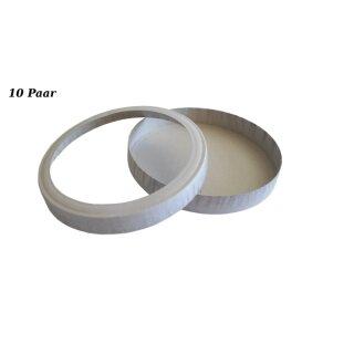 Laternendeckel/Laternenboden rund, D: 11 cm, weiß, 10 Paar
