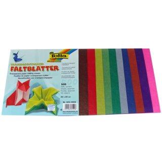 Faltblätter 20 x 20 cm 500 Blatt in 10 Farben sort. aus Transparentpapier, 42 g/qm