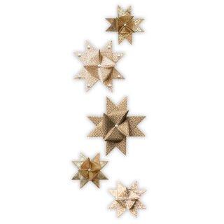 Fröbelsterne gold sortiert, 60 Streifen in 2 versch. Größen und Designs sortiert