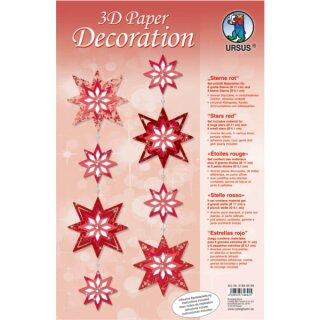 3D Paper Decoration Sterne rot