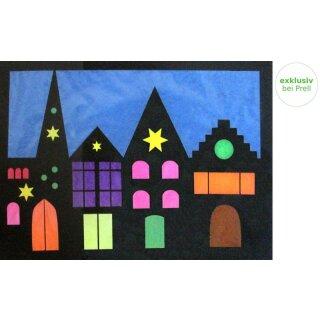 Bastelset Fensterbild Häuserreihe, 4teilig