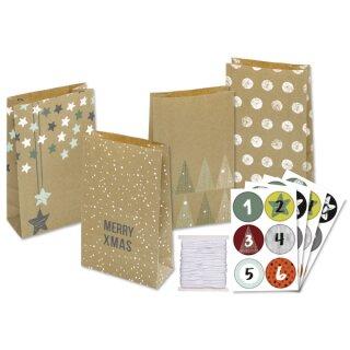 Adventskalender Papiertüten Nature, 24 Stück, leider für diese Saison ausverkauft