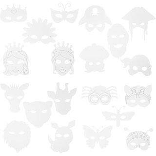Masken aus weißem Karton mit Gummiband, 64 Stück, H: 13 - 22cm, B: 17 - 25 cm