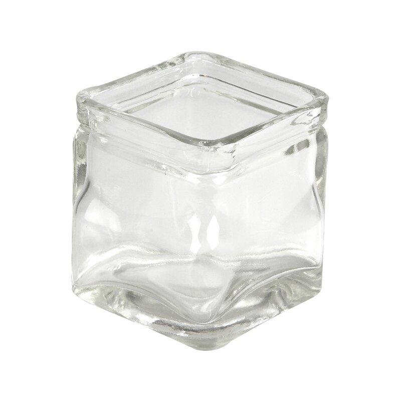 Kerzenhalter quadratisch aus transparentem glas 12 st ck for Kerzenhalter aus glas
