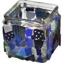 Kerzenhalter quadratisch, aus transparentem Glas, 12 Stück