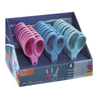 Display mit 24 Softgrip Kinderscheren Westcott® mit spitzer Spitze, versch. farbig sortiert