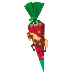 Geschwisterschultüte Bastelset Pferd aus 3D Colorwellpappe, 260 g/qm, 6. eckig