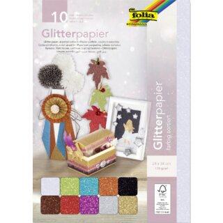 Glitter Papier 170 g/m², 10 Blatt farbig sortiert