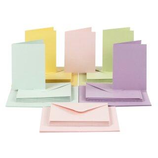 Karten und Kuverts, in 5 Pastellfarben sortiert, 50 Sets