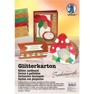 Glitterkarton Traditional, DIN A4, 5 Blatt sortiert in 5 Farben