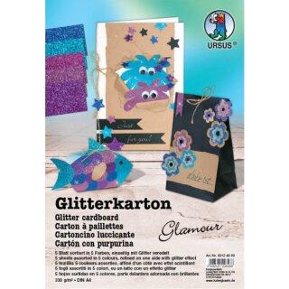 Glitterkarton Glamour, DIN A4, 5 Blatt sortiert in 5 Farben