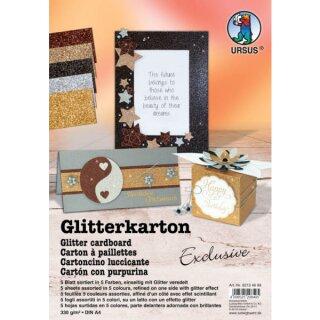 Glitterkarton Exclusive, DIN A4, 5 Blatt sortiert in 5 Farben