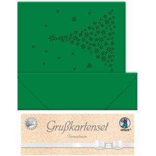 Grußkarten tannengrün gelasert und genutet, Tannenbaum, 5 Doppelkarten 220 g/m², DIN A6