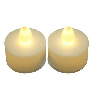 LED Teelicht inkl. Batterie, helle gelbe Birne, ohne Flackern, 2 Stück
