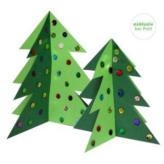Bastelset Weihnachtsbäume vorgedruckt, 20 Stück