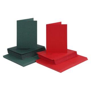 Karten und Kuverts, 230 g, Grün und Rot, 50 Stück