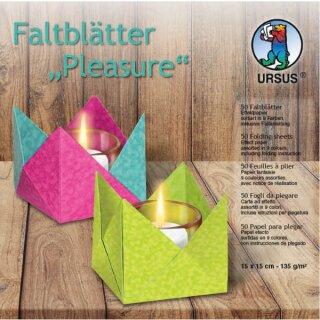 Faltblätter Pleasure, 50 Blatt sortiert in 9 Farben, 15 x 15 cm