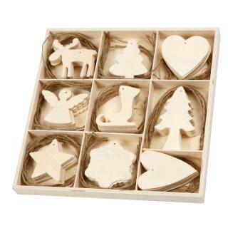 Hängeornamente Weihnachten aus Sperrholz, 72 Stück
