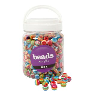 Perlen Multi Mix, D: 12 mm, 500 g, ca. 530 Stück