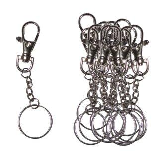 Schlüsselanhänger mit Karabiner und Ring 12 Stück