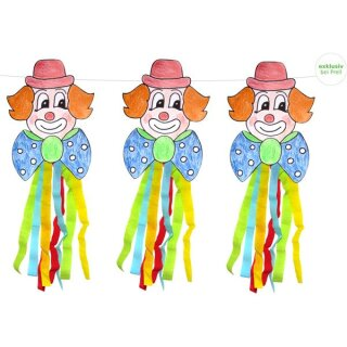 Bastelset Clown Girlande zum Ausschneiden