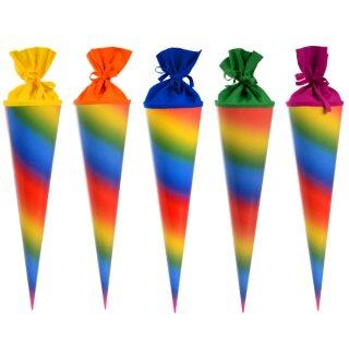 Schultüte regenbogen 5 Stück rund 70 cm lang
