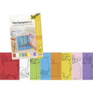 Flechtpapier Set, 24 Flechtbögen in 8 Farben sortiert, DIN A4