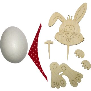 Bastelset Dicker Hase mit rotem Tuch, 20 cm