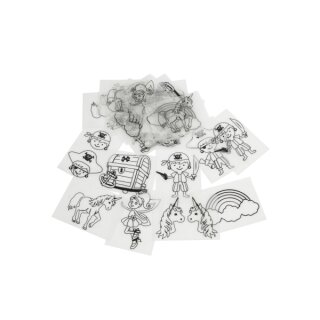 Schrumpffolien Set mit verschiedenen Motiven, 36 Blatt, 10,5 x 14,5 cm