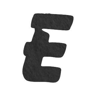 Filzbuchstabe einzeln, ca. 33 mm hoch, 1 Stück E in schwarz