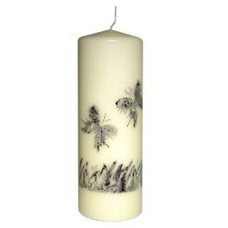 Kerze mit Stempeltechnik elfenbein, Schmetterlinge