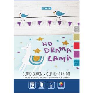 Glitterkarton DIN A4, 10 Blatt in 5 Farben sortiert